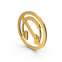 Symbol No Headphones Gold PNG & PSD Images