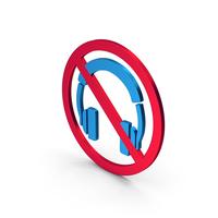 Symbol No Headphones Colored Metallic PNG & PSD Images