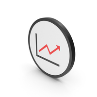 Icon Graph With Arrow Red PNG & PSD Images
