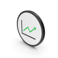 Icon Graph With Arrow Green PNG & PSD Images