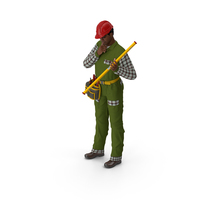 Light Skinned Black Builder Standing Pose PNG & PSD Images
