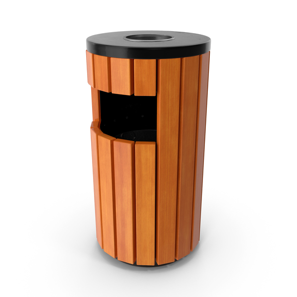 Outdoor Round Trash Bin with Ashtray PNG & PSD Images