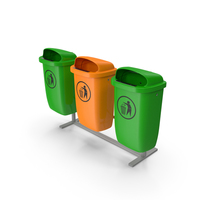 Outdoor Triple Plastic Trash Cans PNG & PSD Images
