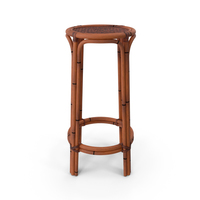Rattan Backless Counter Stool PNG & PSD Images