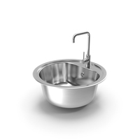 Round Single Kitchen Sink with Tap PNG & PSD Images