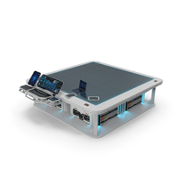 Sci-Fi Hologram Table with Control Panel PNG & PSD Images