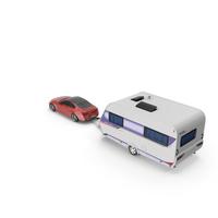 Sedan with Hobby Caravan Ontour PNG & PSD Images