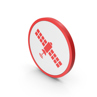 Icon Satellite Red PNG & PSD Images