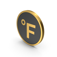 Gold Icon Fahrenheit Degrees PNG & PSD Images