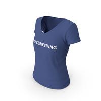 Female V Neck Worn Dark Blue Housekeeping PNG & PSD Images