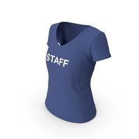 Female V Neck Worn Dark Blue Staff PNG & PSD Images