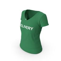 Female V Neck Worn Green Delivery PNG & PSD Images