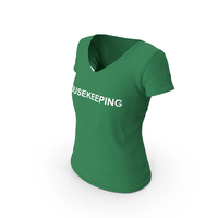 Female V Neck Worn Green Housekeeping PNG & PSD Images