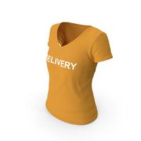 Female V Neck Worn Orange Delivery PNG & PSD Images