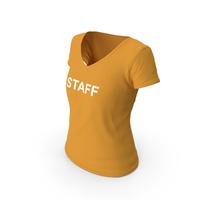 Female V Neck Worn Orange Staff PNG & PSD Images