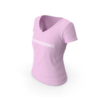 Female V Neck Worn Pink Housekeeping PNG & PSD Images