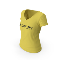 Female V Neck Worn Yellow Delivery PNG & PSD Images