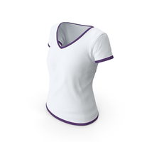 Female V Neck Worn White and Purple PNG & PSD Images