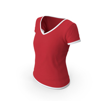 Female V Neck Worn White and Red PNG & PSD Images