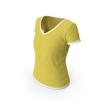 Female V Neck Worn White and Yellow PNG & PSD Images