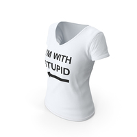 Female V Neck Worn White Im With Stupid PNG & PSD Images