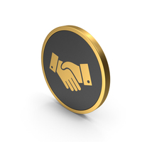 Gold Icon Handshake PNG & PSD Images