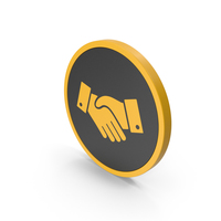 Icon Handshake Yellow PNG & PSD Images