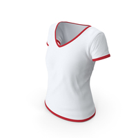 Female V Neck Worn With Tag White and Red PNG & PSD Images