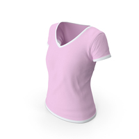 Female V Neck Worn With Tag White and Pink PNG & PSD Images