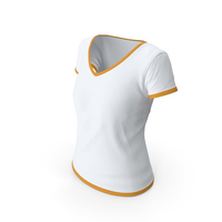 Female V Neck Worn With Tag White and Orange PNG & PSD Images