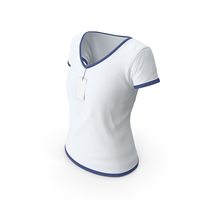 Female V Neck Worn With Tag White and Dark Blue PNG & PSD Images