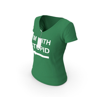 Female V Neck Worn With Tag Green Im With Stupid PNG & PSD Images