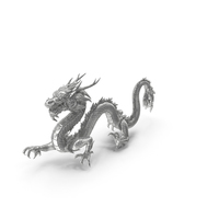 Silver Chinese Dragon Statue PNG & PSD Images