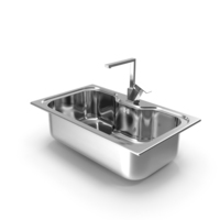 Single Bowl Square Inset Sink with Tap PNG & PSD Images