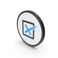 Icon X Mark Box Blue PNG & PSD Images