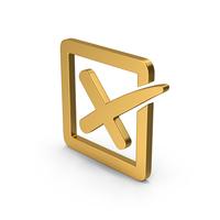 Symbol X Mark Box Gold PNG & PSD Images