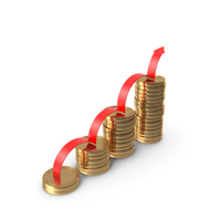 Gold Coins and Uptrend Arrow PNG & PSD Images