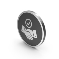 Silver Icon Handshake With Checkmark PNG & PSD Images