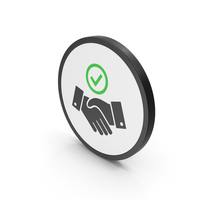 Icon Handshake With Checkmark Green PNG & PSD Images