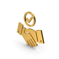 Symbol Handshake With Checkmark Gold PNG & PSD Images