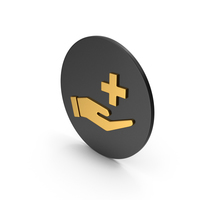 Medical Cross In Hand Gold Icon PNG & PSD Images