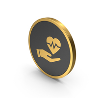 Gold Icon Medical Heart In Hand PNG & PSD Images
