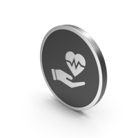 Silver Icon Medical Heart In Hand PNG & PSD Images