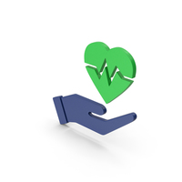 Symbol Medical Heart In Hand Green PNG & PSD Images