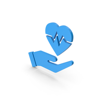 Symbol Medical Heart In Hand Blue PNG & PSD Images