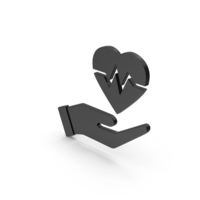 Symbol Medical Heart In Hand Black PNG & PSD Images