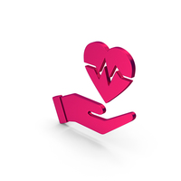 Symbol Medical Heart In Hand Metallic PNG & PSD Images