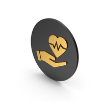 Medical Heart In Hand Gold Icon PNG & PSD Images