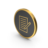 Gold Icon Document With Pen PNG & PSD Images