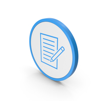 Icon Document With Pen Blue PNG & PSD Images